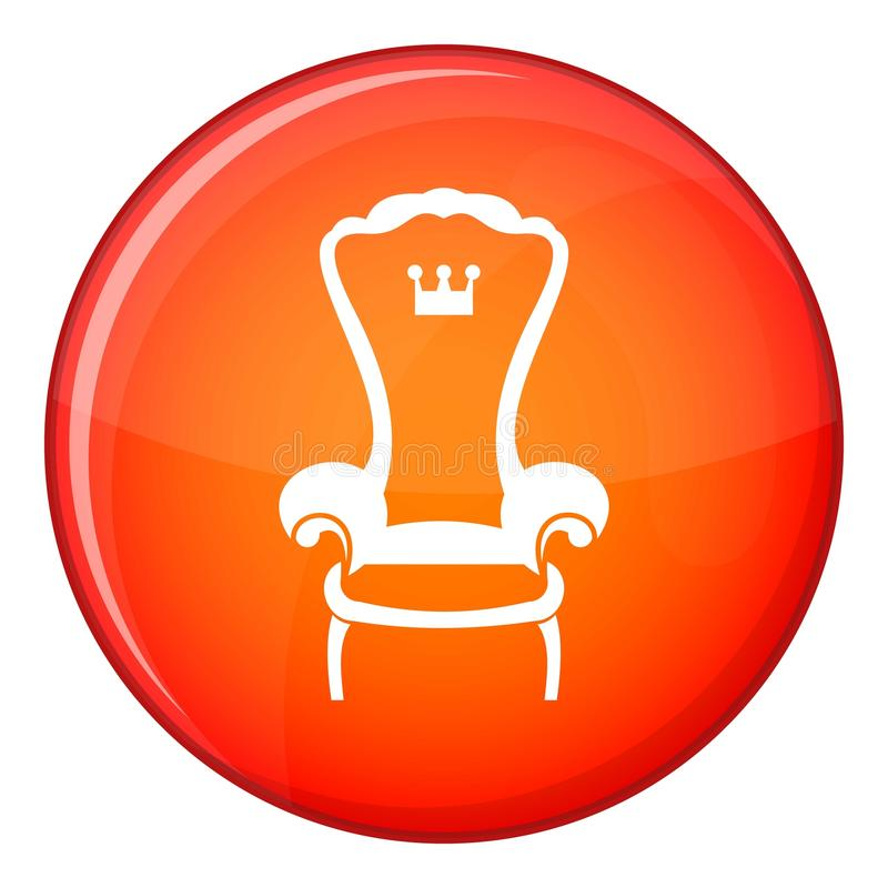 Icono de la silla del trono del rey, estilo plano libre illustration