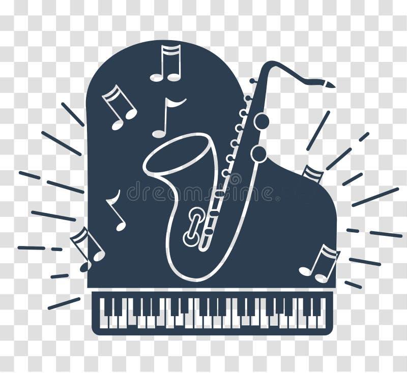 Icono de la silueta de la música de jazz stock de ilustración