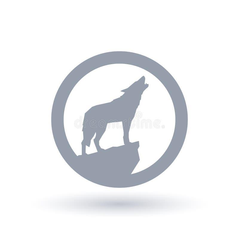 Icono de la silueta del aullido del lobo ilustración del vector