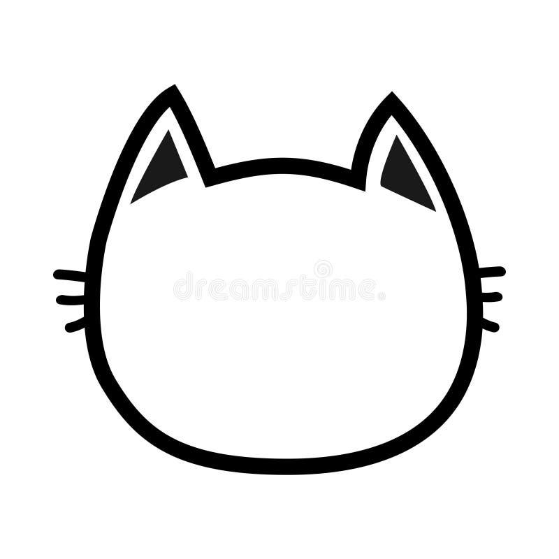 Icono de la silueta del contorno de la cara de la cabeza del gato negro Línea pictograma Personaje de dibujos animados divertido  ilustración del vector
