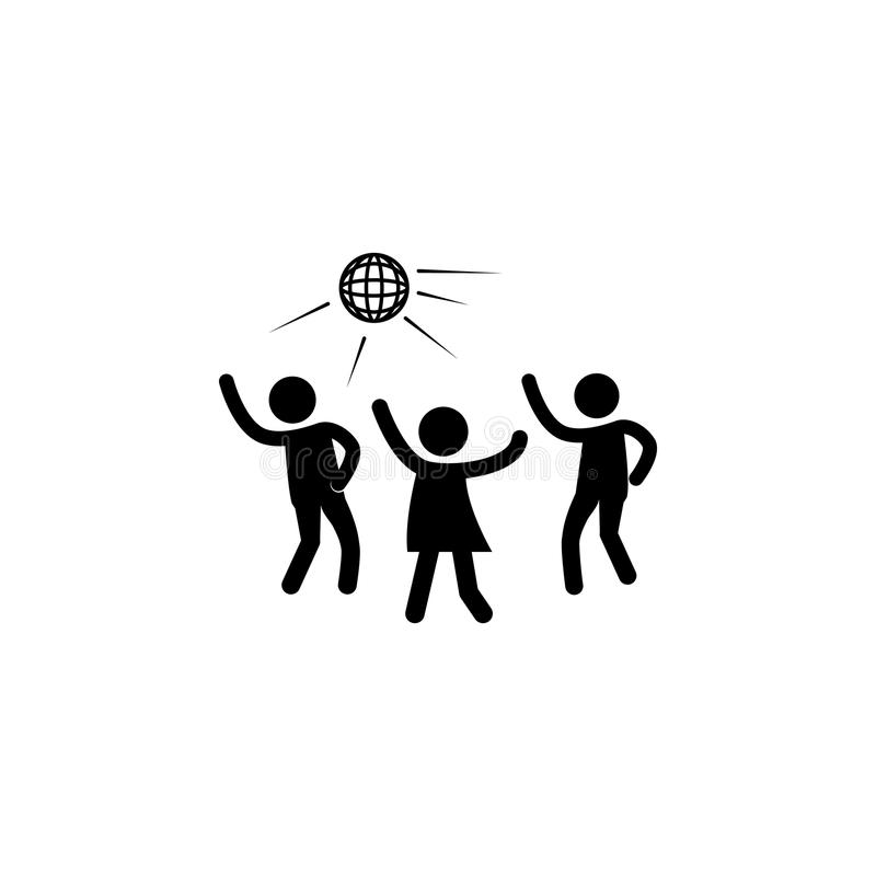 Icono de la silueta del partido de disco Icono del club de noche Elemento del icono humano de la silueta Diseño gráfico de la cal libre illustration