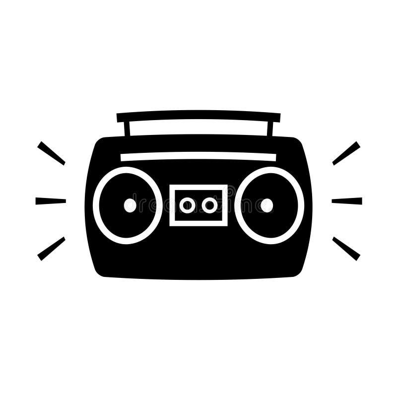 Icono de la silueta de la historieta del arenador del ghetto de Boombox stock de ilustración