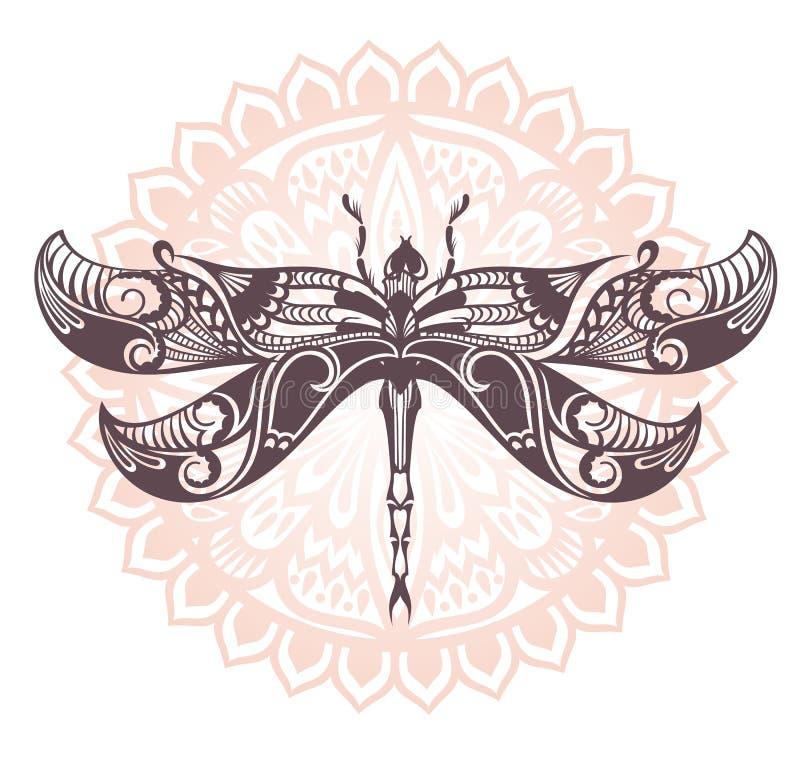 Icono de la silueta de la libélula Ilustración del vector stock de ilustración