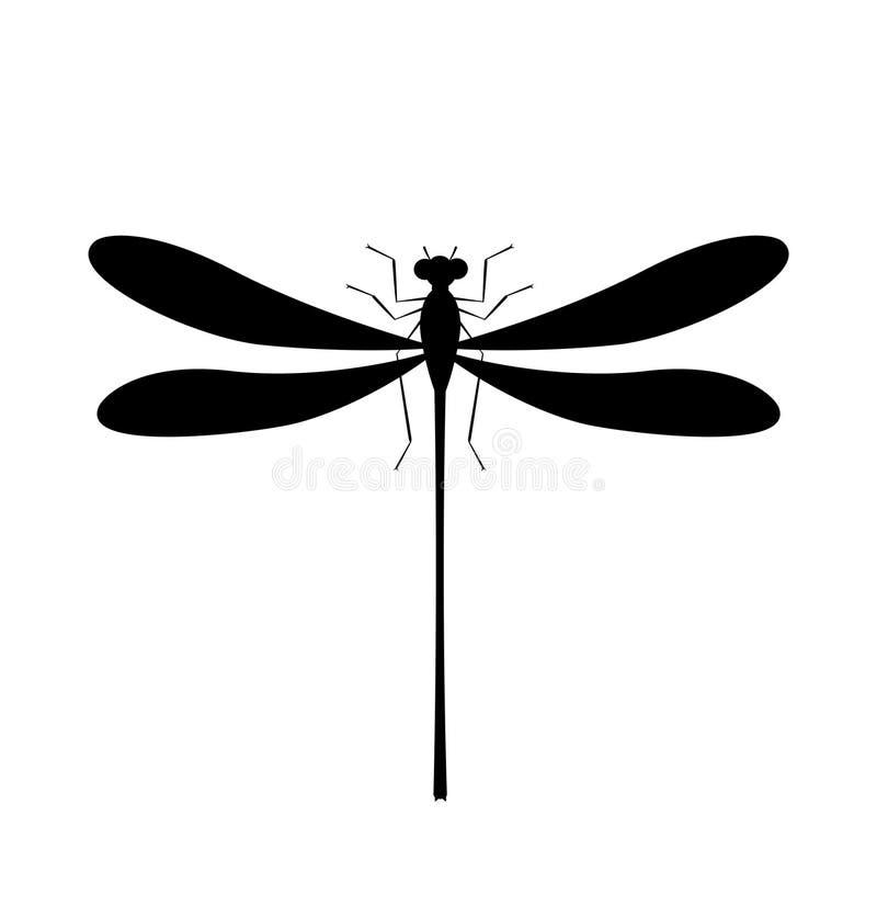 Icono de la silueta de la lib?lula Símbolo aislado del insecto libre illustration