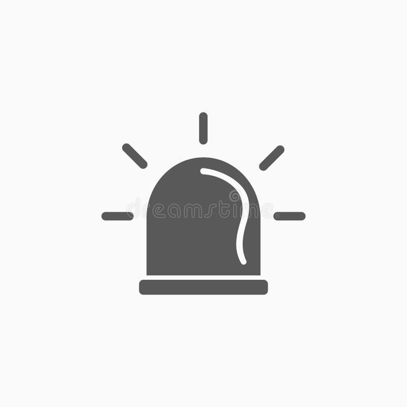 Icono de la sirena, alarma, accidente, ambulancia, luz stock de ilustración