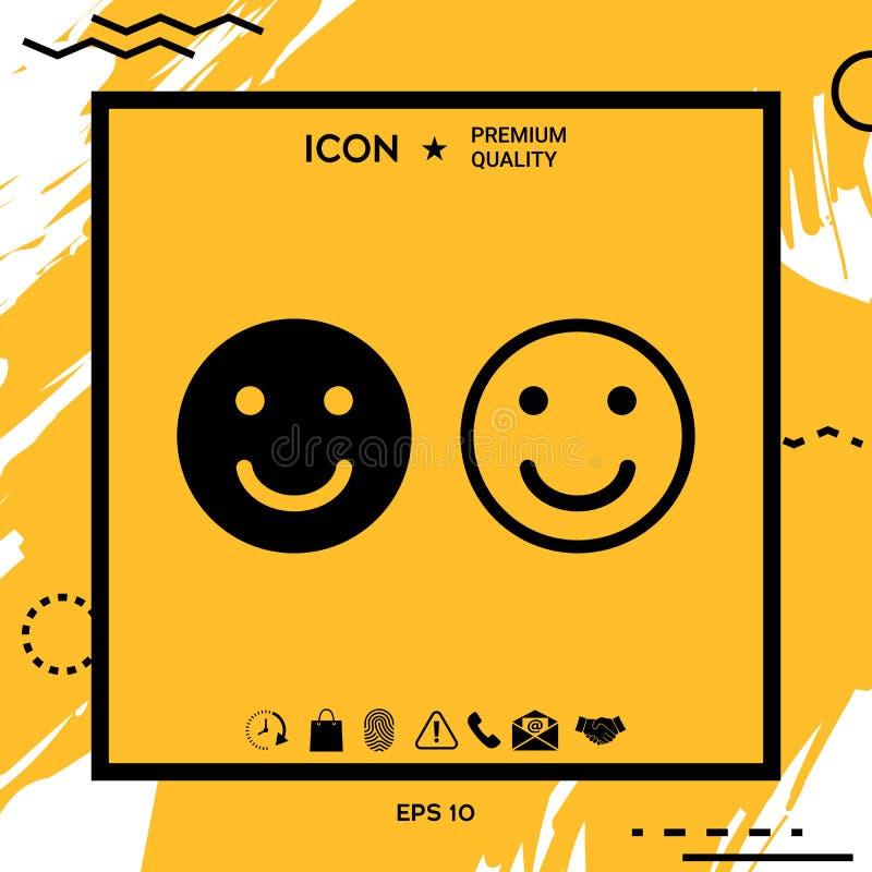Icono de la sonrisa Símbolo feliz de la cara para su diseño del sitio web ilustración del vector