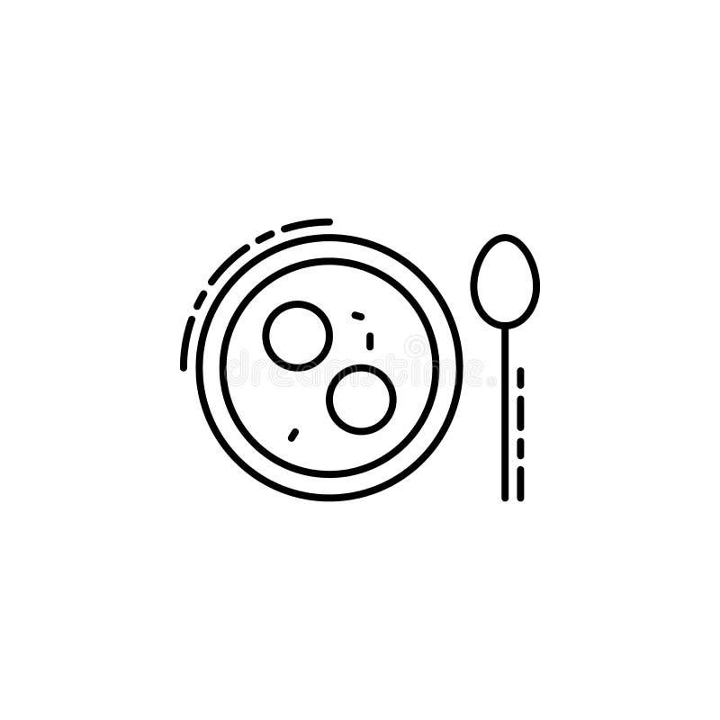 Icono de la sopa de la bola de Matzo Elemento del icono judío para los apps móviles del concepto y del web La línea fina icono de ilustración del vector