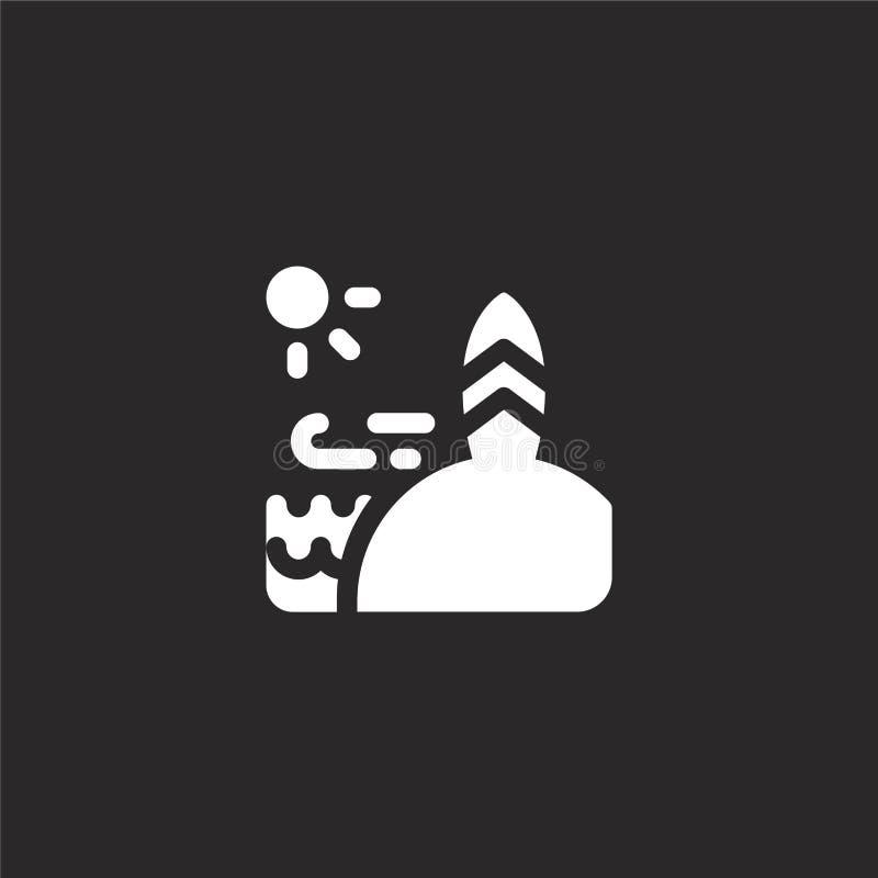 Icono de la tabla hawaiana Icono llenado de la tabla hawaiana para el diseño y el móvil, desarrollo de la página web del app Icon stock de ilustración