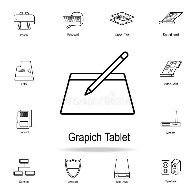 Icono de la tableta gráfica Sistema detallado de iconos de la pieza del ordenador Diseño gráfico superior Uno de los iconos de la libre illustration