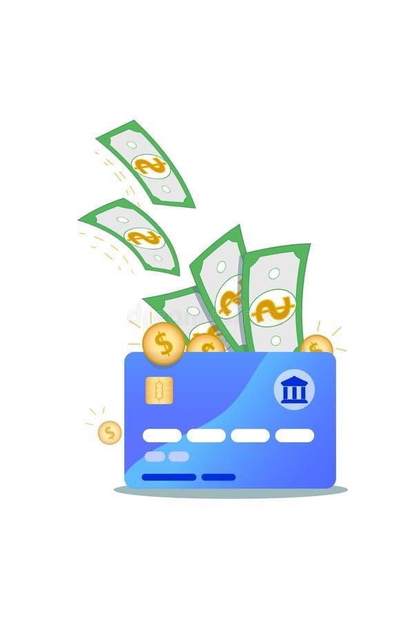 Icono de la tarjeta de crédito de Nfc con los billetes de banco del dólar y las monedas de oro aislados en el fondo blanco Concep ilustración del vector
