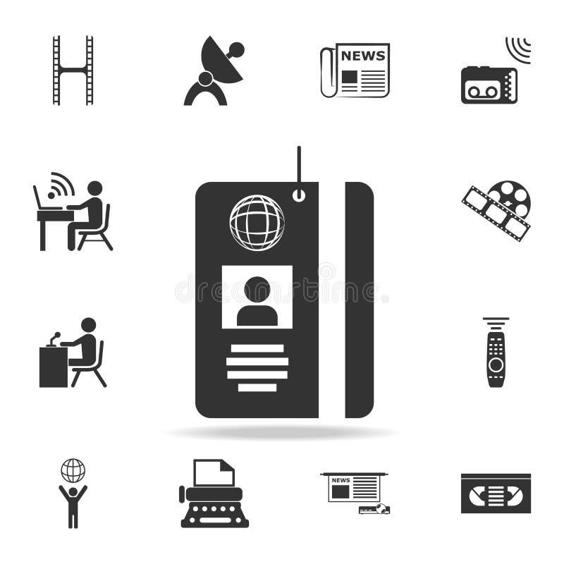 Icono de la tarjeta de la identificación del pase de prensa Iconos detallados del sistema del medios icono del elemento Diseño gr libre illustration