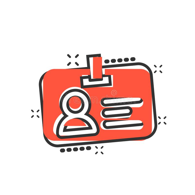 Icono de la tarjeta de la identificación en estilo cómico Pictograma del ejemplo de la historieta del vector de la insignia de la libre illustration