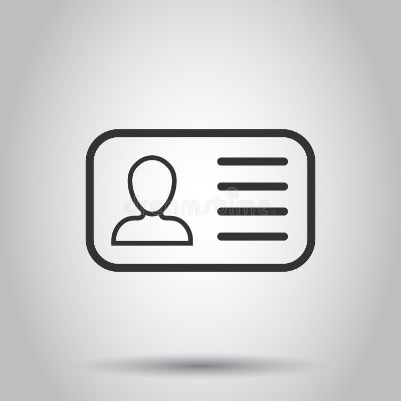 Icono de la tarjeta de la identificación en estilo plano Ejemplo del vector de la insignia de la identidad en el fondo blanco Ten libre illustration