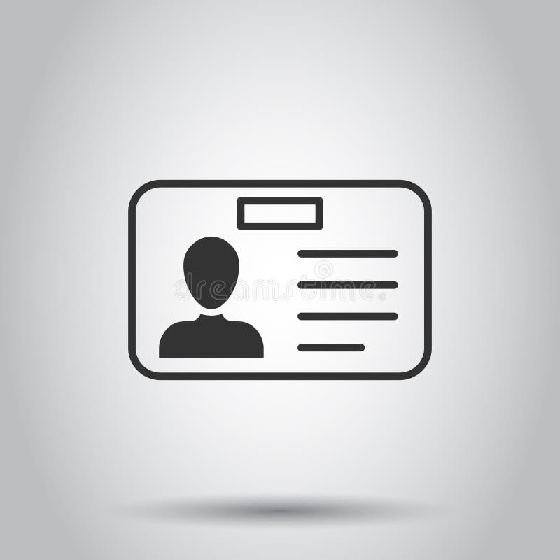Icono de la tarjeta de la identificación en estilo plano Ejemplo del vector de la insignia de la identidad en el fondo blanco Ten stock de ilustración
