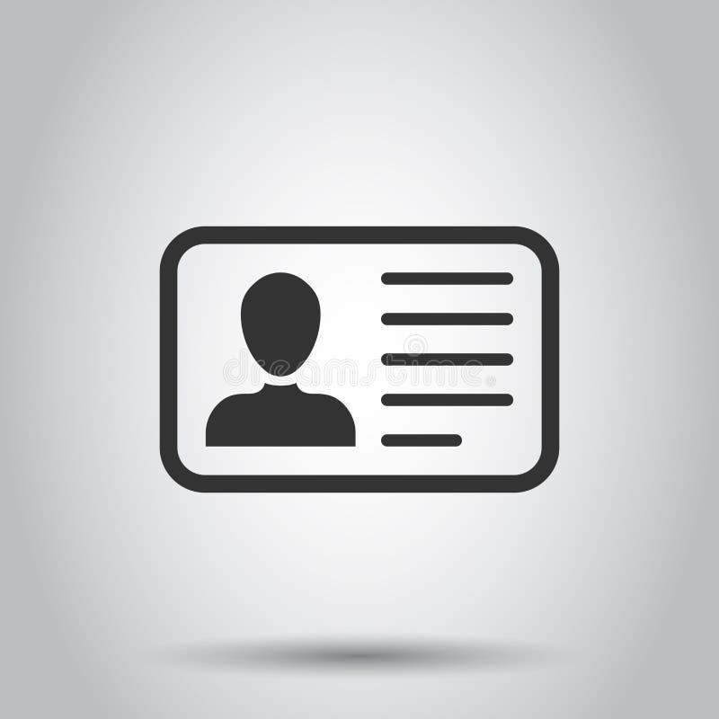 Icono de la tarjeta de la identificación en estilo plano Ejemplo del vector de la insignia de la identidad en el fondo blanco Ten ilustración del vector