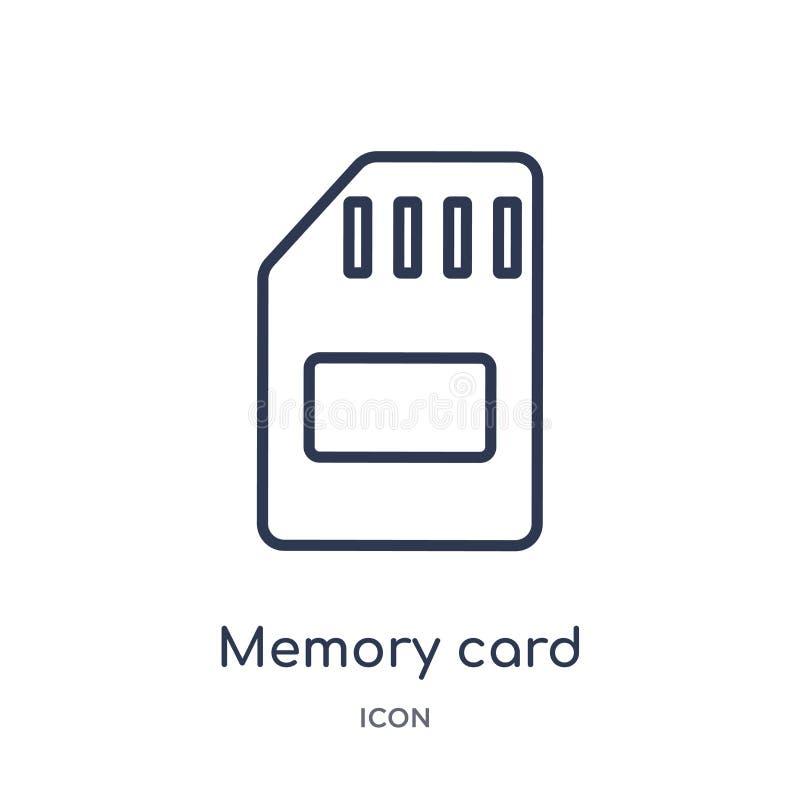 Icono de la tarjeta de memoria linear de la colección electrónica del esquema del terraplén de la materia Línea fina vector de la stock de ilustración