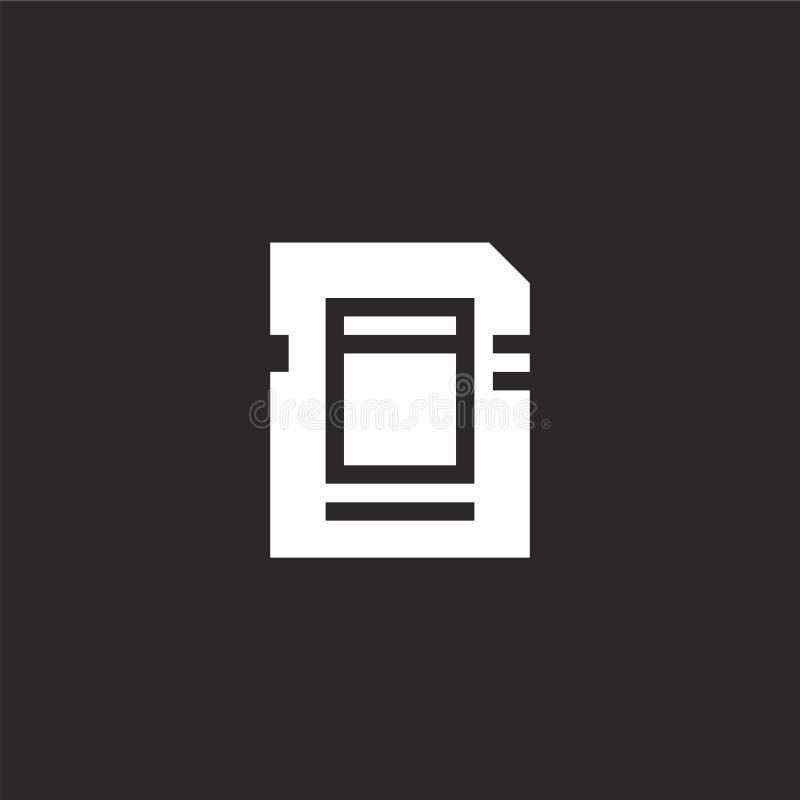 Icono de la tarjeta de memoria Icono llenado de la tarjeta de memoria para el diseño y el móvil, desarrollo de la página web del  ilustración del vector