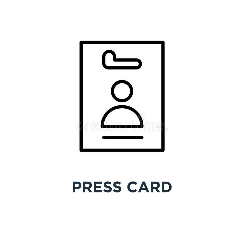 Icono de la tarjeta de prensa Ejemplo simple linear del elemento Malo de la tarjeta de la identificación ilustración del vector