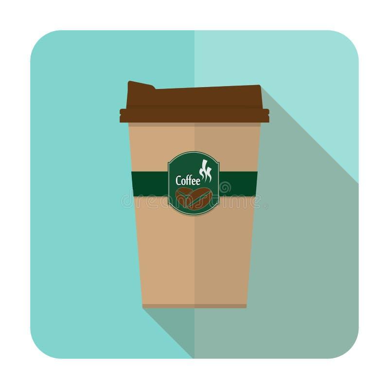 Icono de la taza de café con el icono largo de la sombra imagen de archivo libre de regalías