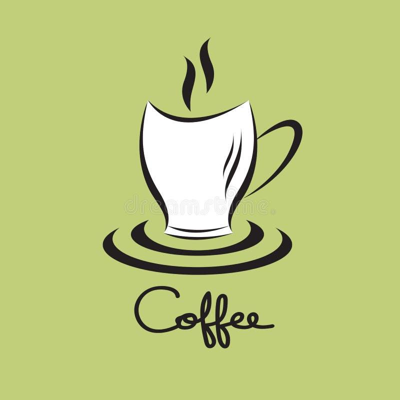 Icono de la taza de café, plantilla del diseño del logotipo de la cafetería, símbolo caliente de la bebida del restaurante y del  libre illustration