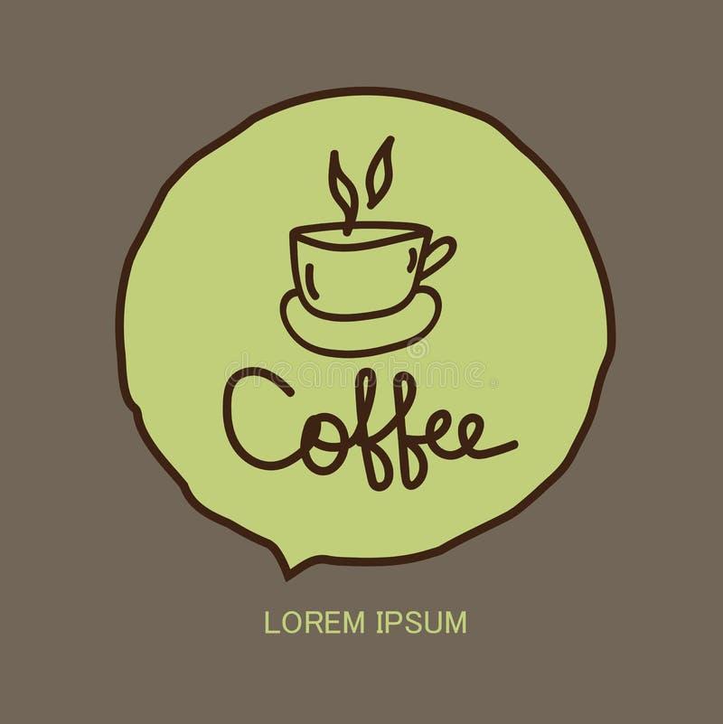 Icono de la taza de café, plantilla del diseño del logotipo de la cafetería, símbolo caliente de la bebida del restaurante y del  stock de ilustración