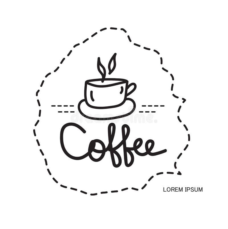 Icono de la taza de café, plantilla del diseño del logotipo de la cafetería, símbolo caliente de la bebida del restaurante y del  ilustración del vector