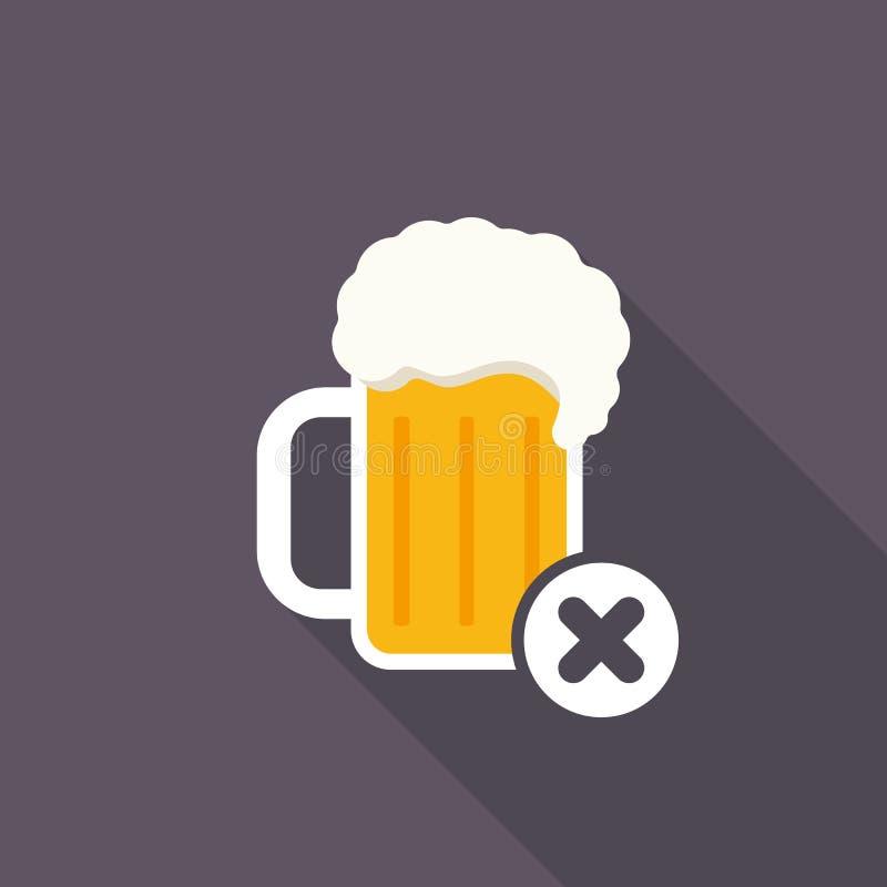 Icono de la taza de cerveza con la muestra de la cancelación El icono y el cierre, cancelación de la bebida del alcohol, quitan s libre illustration
