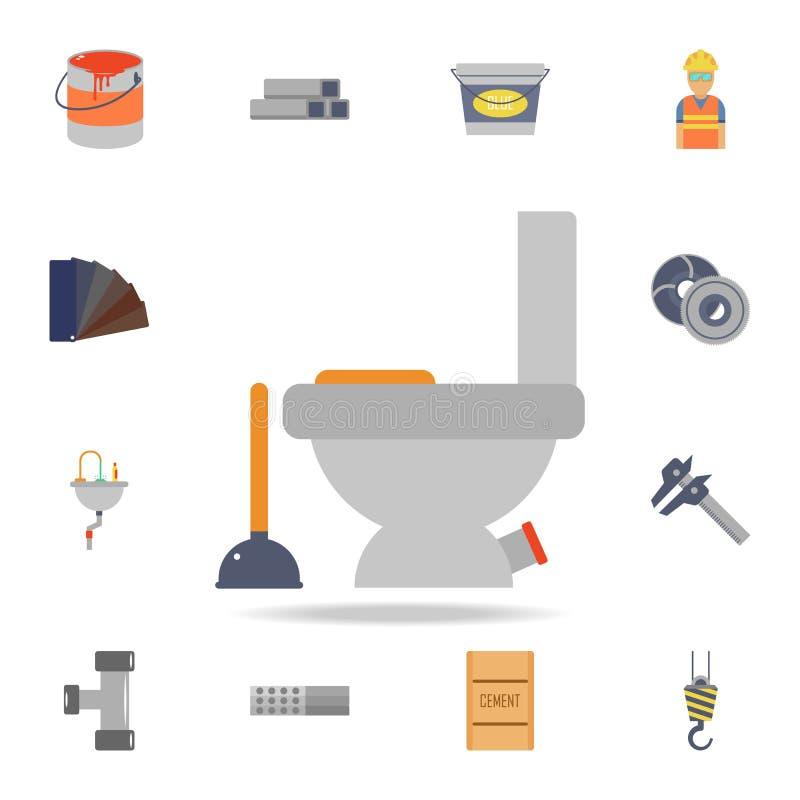 icono de la taza del inodoro y del émbolo del color Sistema detallado de herramientas de la construcción del color Diseño gráfico libre illustration