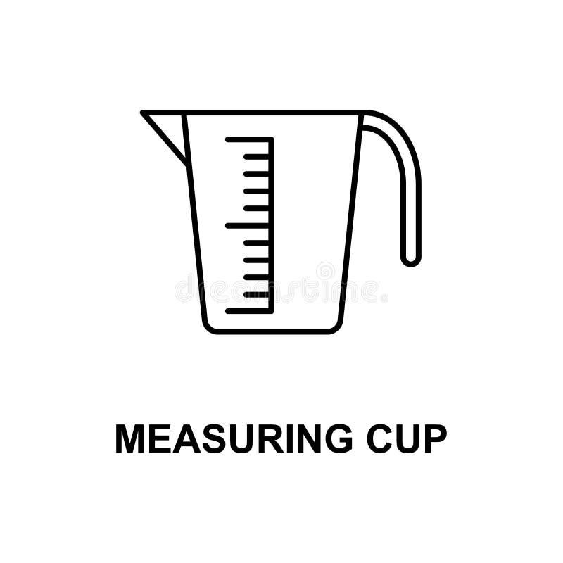 Icono de la taza de medición Elemento del icono de los instrumentos de medida con el nombre para los apps móviles del concepto y  ilustración del vector