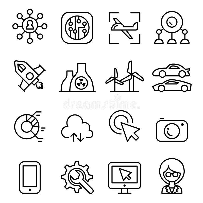 Icono de la tecnología fijado en la línea estilo fina libre illustration