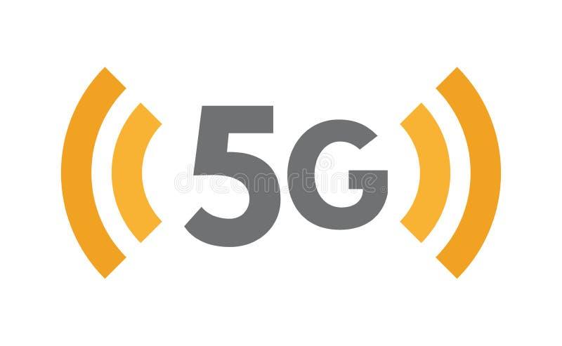 icono de la tecnología de red 5G Símbolo inalámbrico de la quinta generación Comunicación, conexión, ejemplo plano de Internet rá stock de ilustración