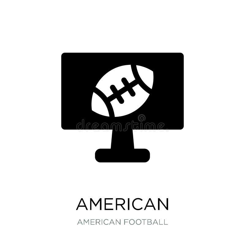 icono de la televisión del fútbol americano en estilo de moda del diseño Icono de la televisión del fútbol americano aislado en e ilustración del vector