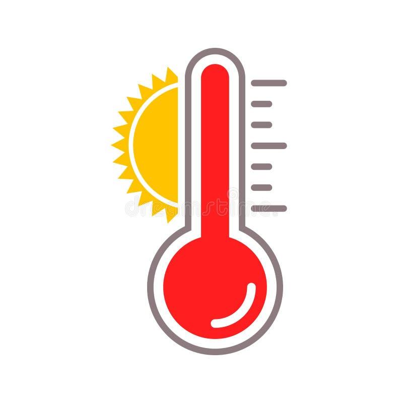Icono de la temperatura del calor del sol del vector del termómetro libre illustration