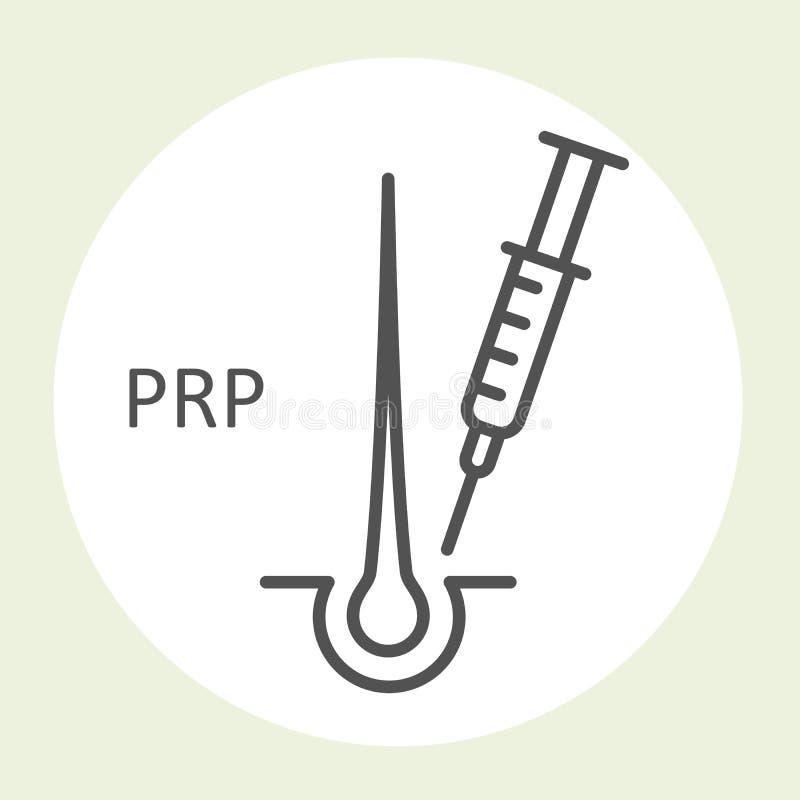 Icono de la terapia de PRP - prevenci?n contra p?rdidas de pelo, inyecciones de la ra?z del pelo ilustración del vector
