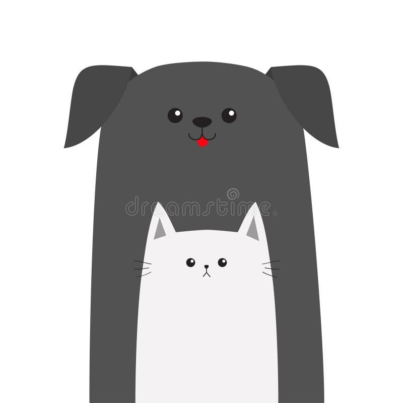 Icono de la tienda de animales Animal del gato del perro Lengüeta roja Animales domésticos felices fijados libre illustration
