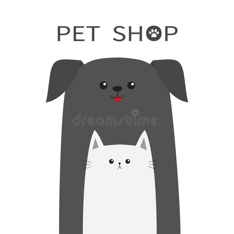 Icono de la tienda de animales Animal del gato del perro Lengüeta roja Animales domésticos felices fijados Paw Print Elemento vet libre illustration