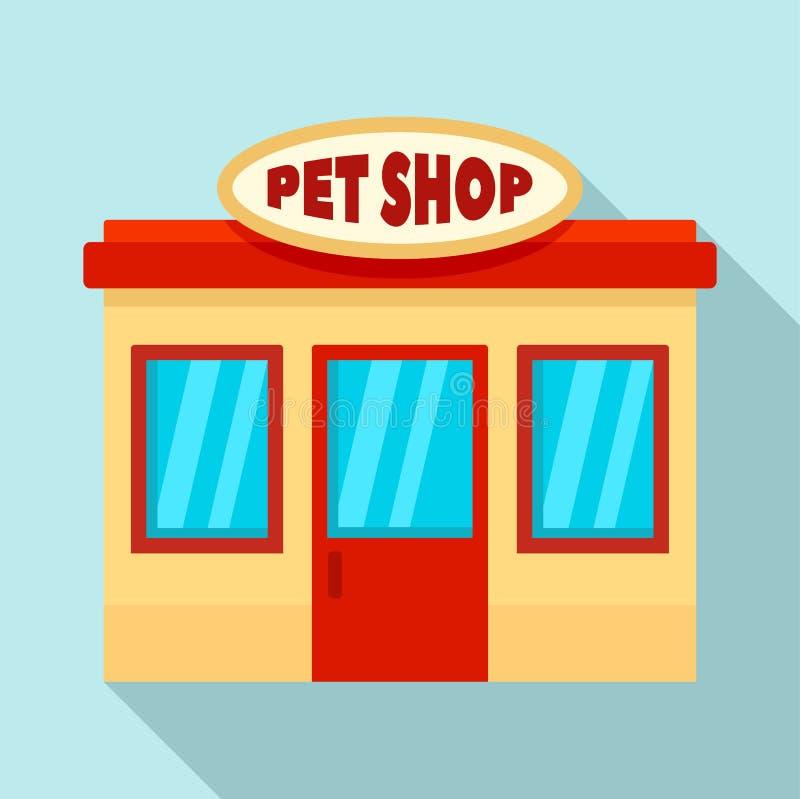 Icono de la tienda de la calle del animal doméstico, estilo plano libre illustration