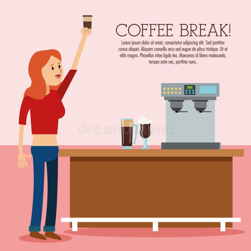 Icono de la tienda del descanso para tomar café de la mujer Gráfico de vector libre illustration
