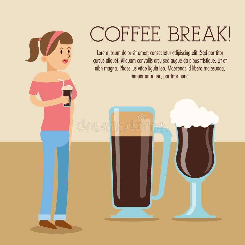 Icono de la tienda del descanso para tomar café de la mujer Gráfico de vector stock de ilustración