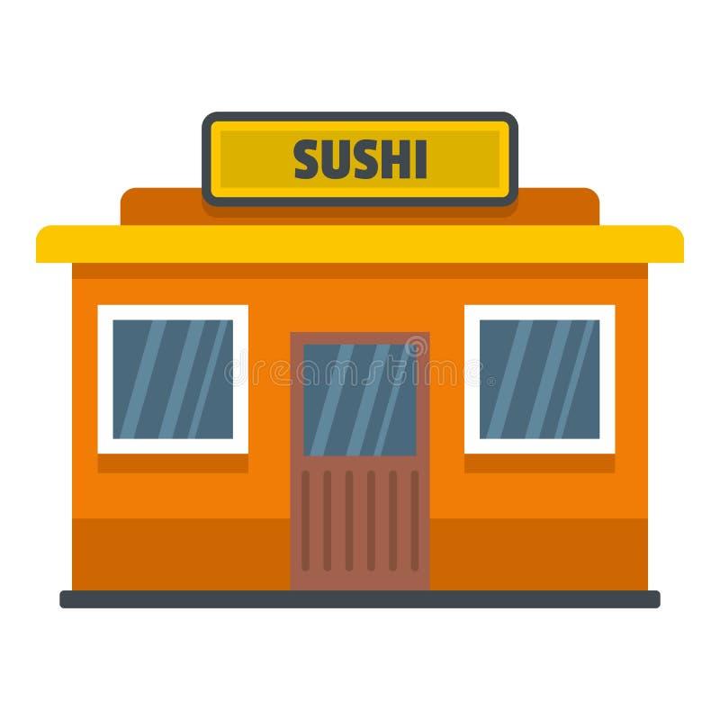 Icono de la tienda del sushi, estilo plano stock de ilustración