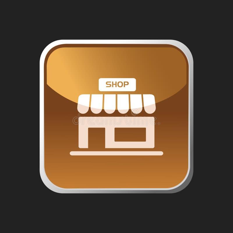 Icono de la tienda en el botón ilustración del vector