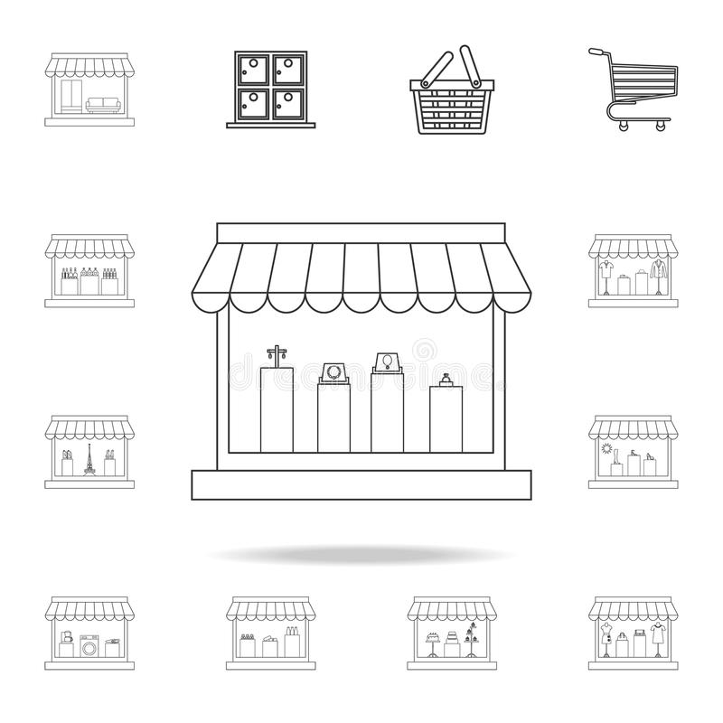 icono de la tienda de joyería Sistema detallado de tiendas y de iconos del hipermercado Diseño gráfico de la calidad superior Uno stock de ilustración
