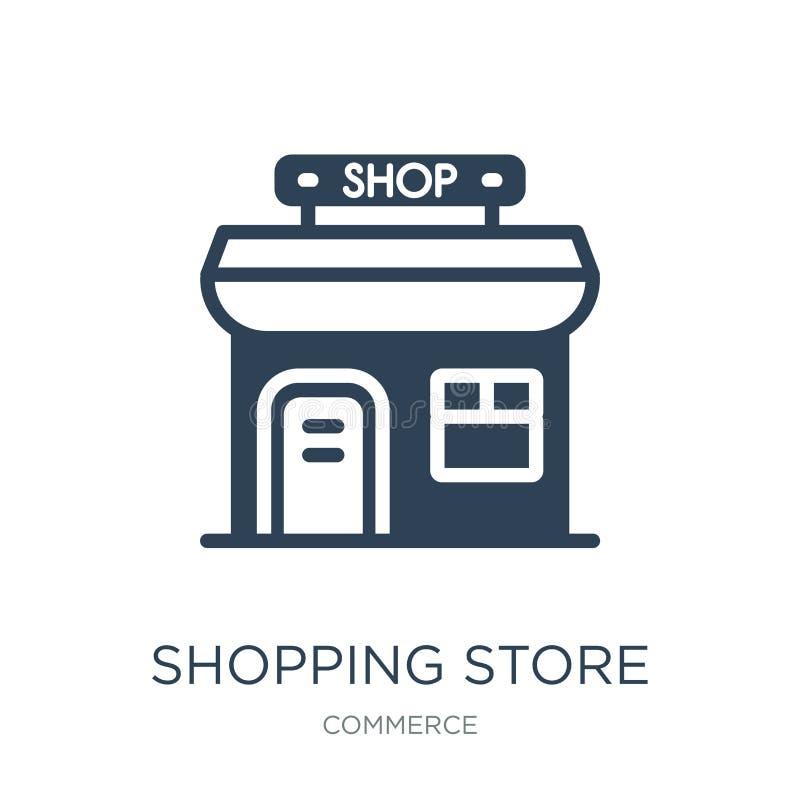 icono de la tienda que hace compras en estilo de moda del diseño Icono de la tienda que hace compras aislado en el fondo blanco i stock de ilustración