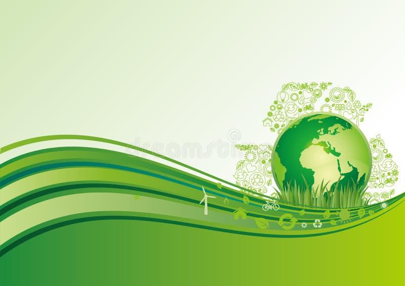icono de la tierra y del ambiente, fondo verde ilustración del vector