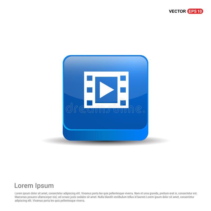 Icono de la tira de la película - botón del azul 3d libre illustration