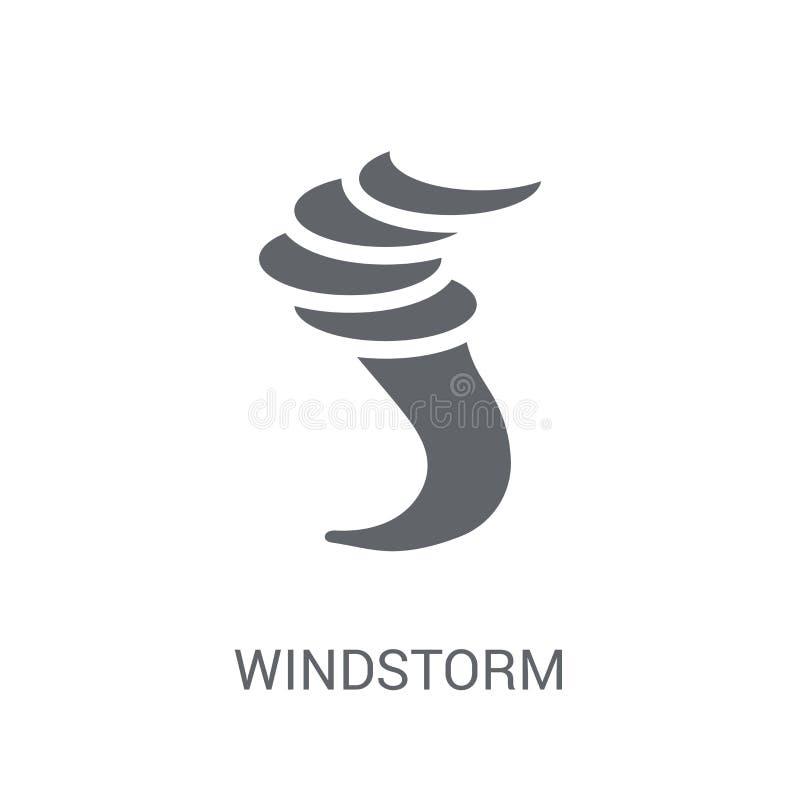 Icono de la tormenta de viento Concepto de moda del logotipo de la tormenta de viento en el backgroun blanco ilustración del vector