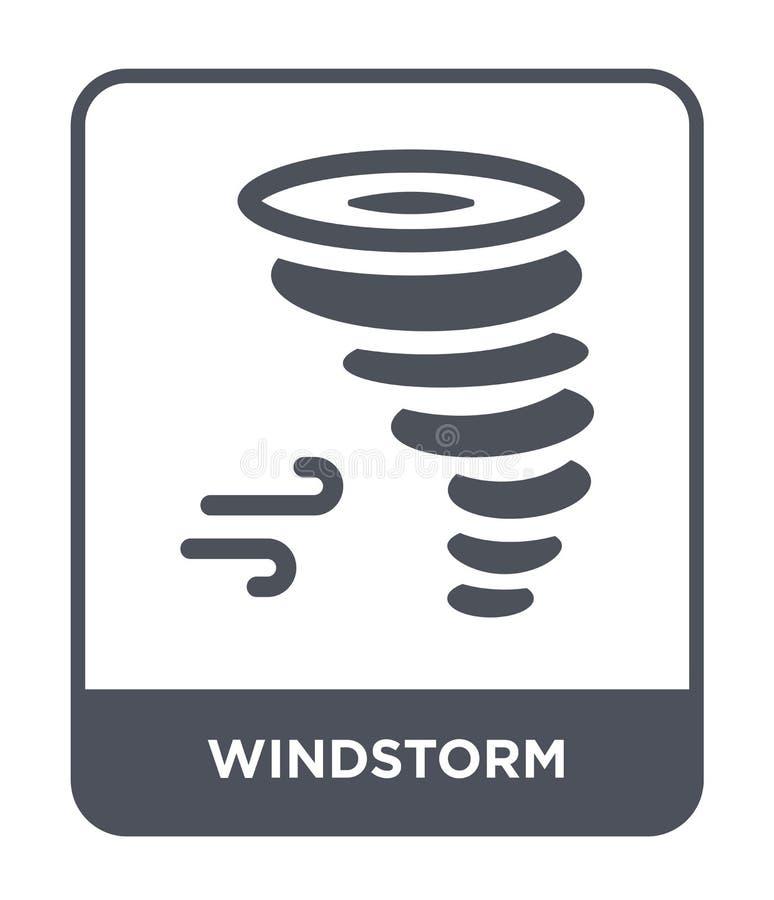 icono de la tormenta de viento en estilo de moda del diseño icono de la tormenta de viento aislado en el fondo blanco plano simpl stock de ilustración