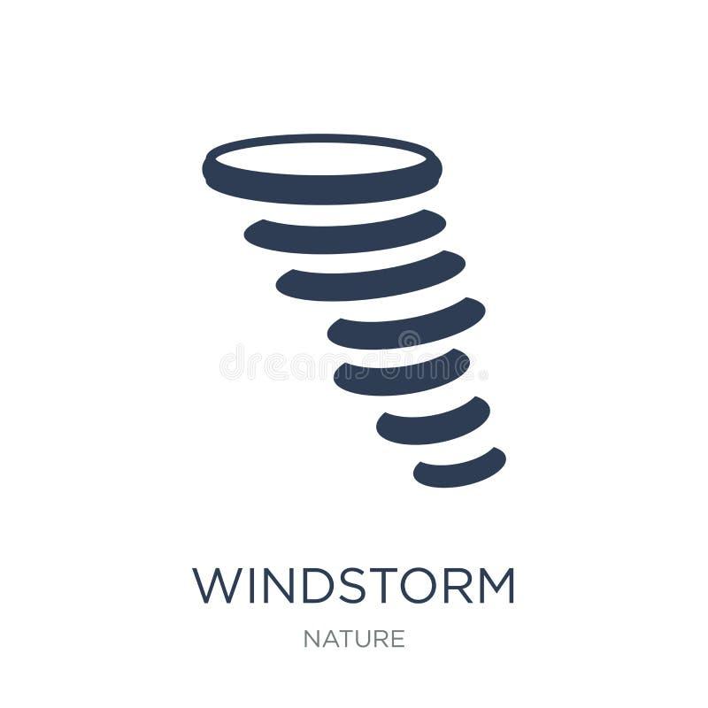 Icono de la tormenta de viento Icono plano de moda de la tormenta de viento del vector en el backg blanco stock de ilustración