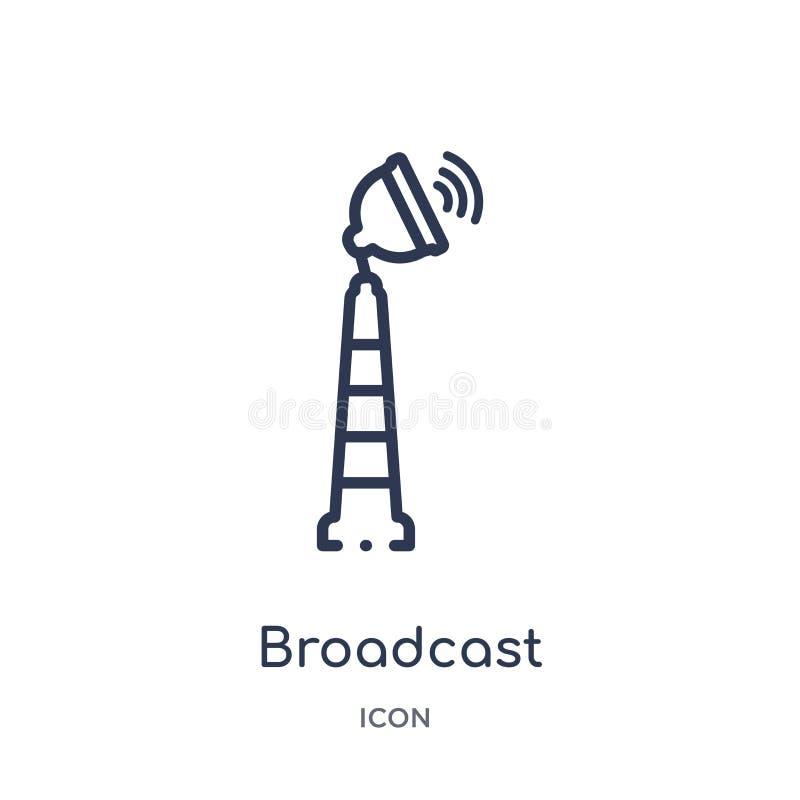 icono de la torre de comunicaciones de difusión de la colección del esquema de la tecnología Línea fina icono de la torre de comu ilustración del vector