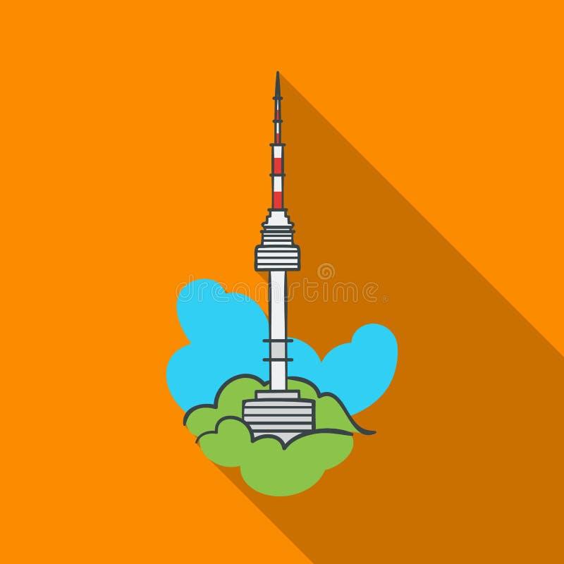 Icono de la torre de Seul en estilo plano aislado en el fondo blanco Ejemplo del vector de la acción del símbolo de la Corea del  ilustración del vector